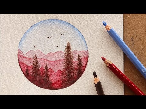 تعليم الرسم بالوان الخشب المائية: كيف ترسم منظر طبيعي سهل بـ 3 الوان فقط