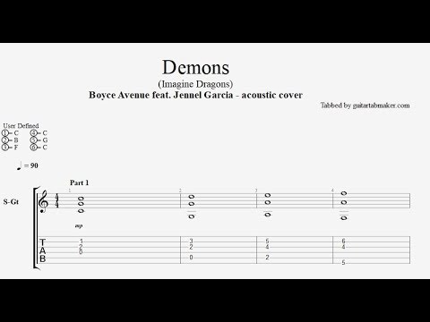 Boyce Avenue - Demons TAB (acoustic version with Jennel Garcia)