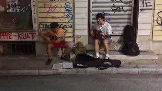 Greek musicians in Plaka, Athens, the 27th of August 2017