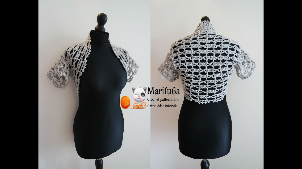 How to crochet easy bolero for beginners from one ball all sizes ...