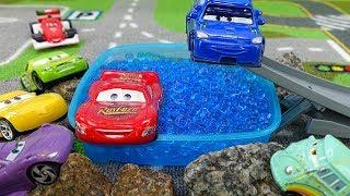 Lightning McQueen prepares for a car race: Disney Pixar Cars