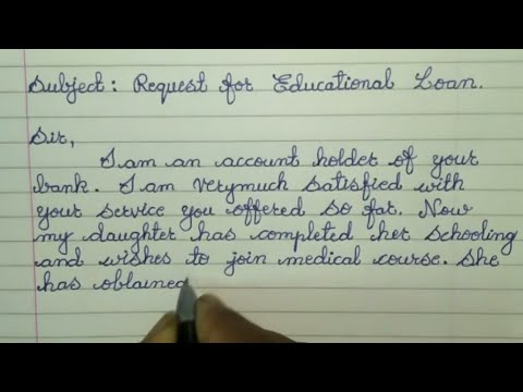 How to write a Letter to the Bank Manager for Educational Loan // Letter writing in Cursive