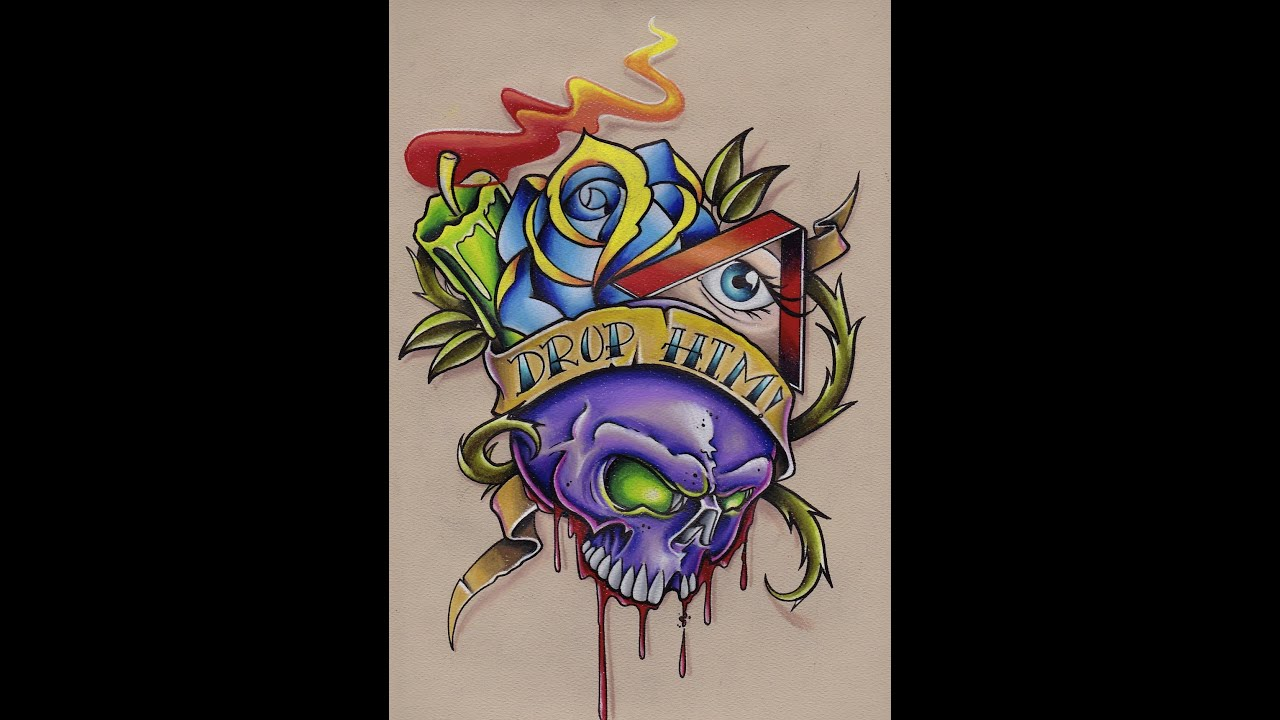 Colored Pencil Drawing Skull