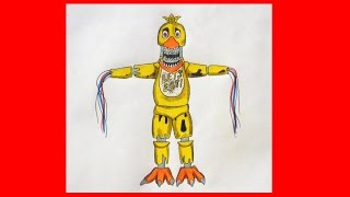 How to draw Withered Chica, five nights at freddy's, Как нарисовать Чику