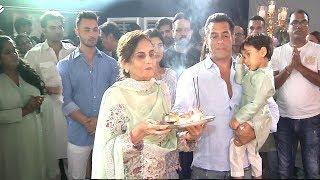 Salman Khan With Mom Salma, Nephew Aahil, Arpita Arbaaz & Family Members Doing Lord Ganesh Aarti