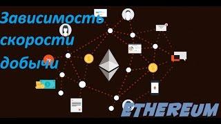 Зависимость скорости добычи Ethereum и его форков от частоты графического  процессора