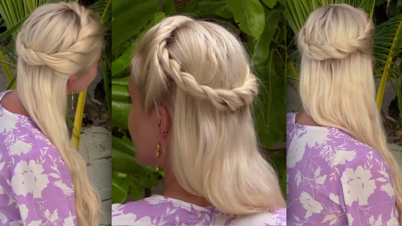 Bohemian Half Up Half Down Hairstyle For Medium Long Hair Princess Fairy Angel Halloween Tutorial