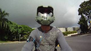 Master Chief HALO Custom Motorcycle Helmet on YAMAHA R1 GoPro Hero HD