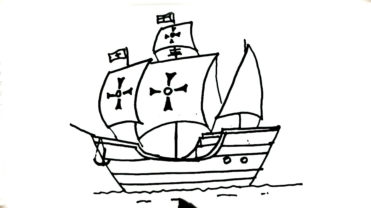 How to draw La Santa María,Ship of Christopher Columbus- in easy steps for  children  beginners