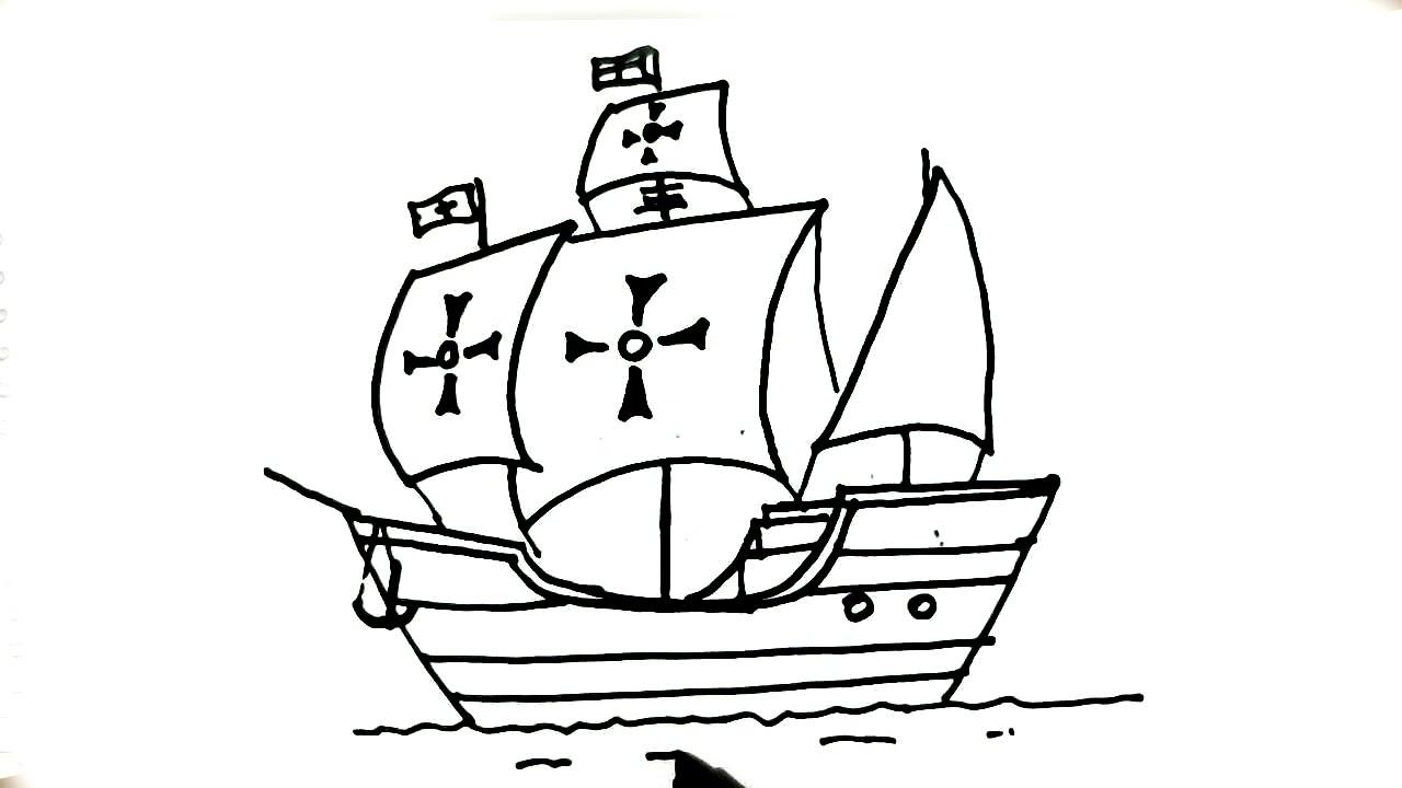 How to draw La Santa MaraShip of Christopher Columbus in easy