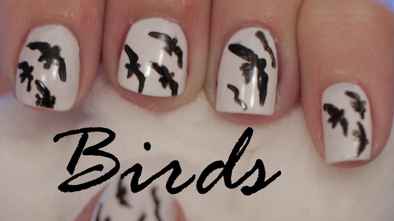 silhouette birds nail polish art