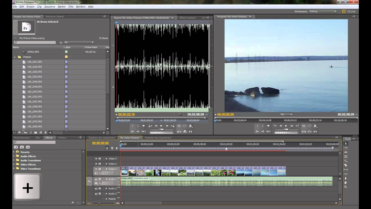 create picture slideshow with music in adobe premiere cs55 pt 1 of 2 youtube