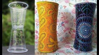 Ваза своими руками из пластиковых стаканчиков / Как сделать вазу / Поделки из одноразовой посуды