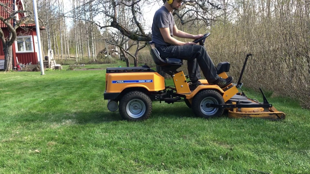 stiga park 12 hst 1988 with 100m cutting deck mowing the lawn - youtube
