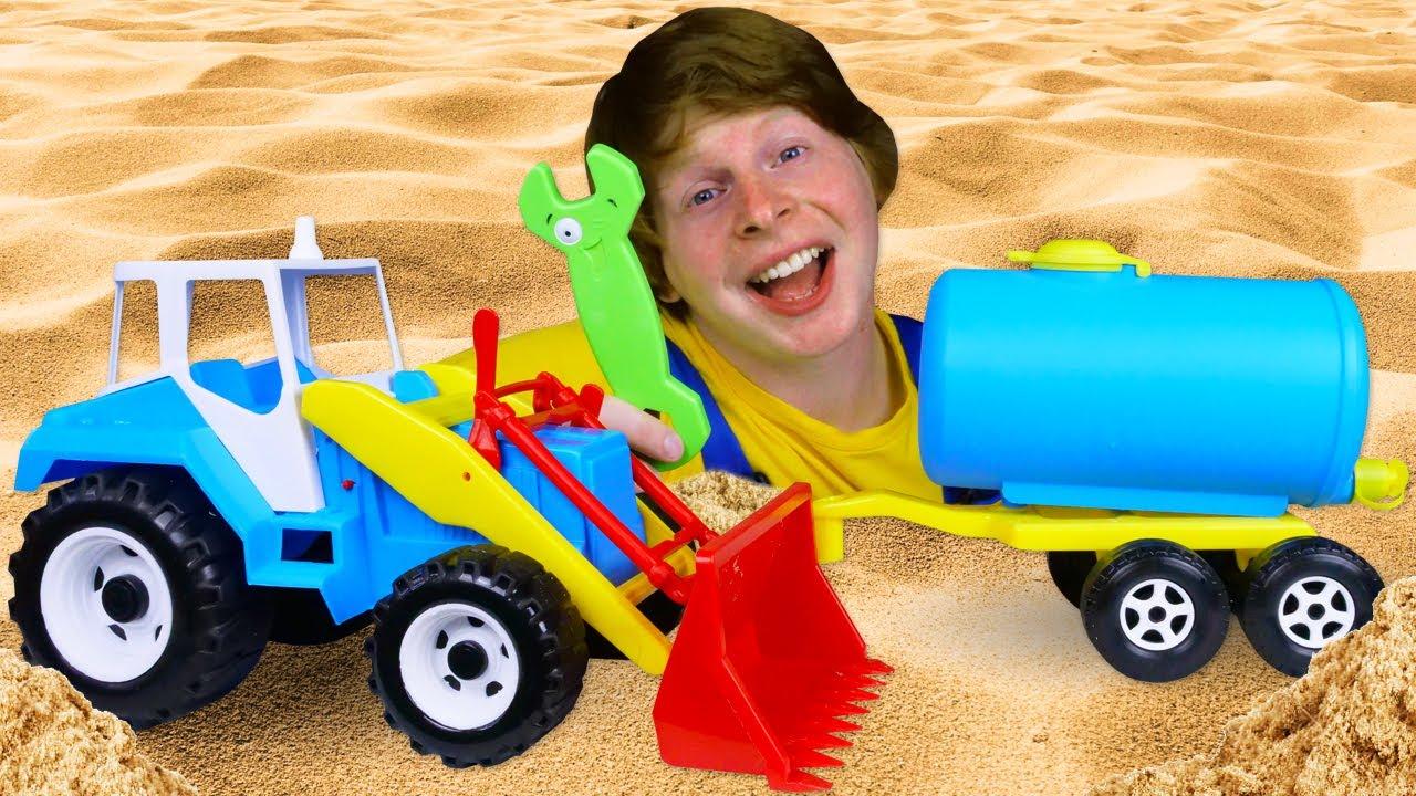 Синий трактор сломался. Игры в автомастерскую. Крутые видео для мальчиков
