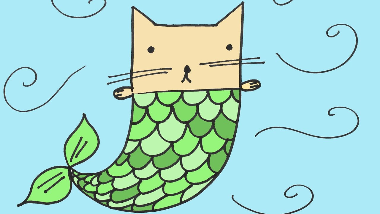 how to draw a mermaid cat step by step for beginners and kids