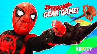 Spiderman Gear Game! Web Shooters + Spider-Verse Costume Mashup! | KIDCITY Family Games