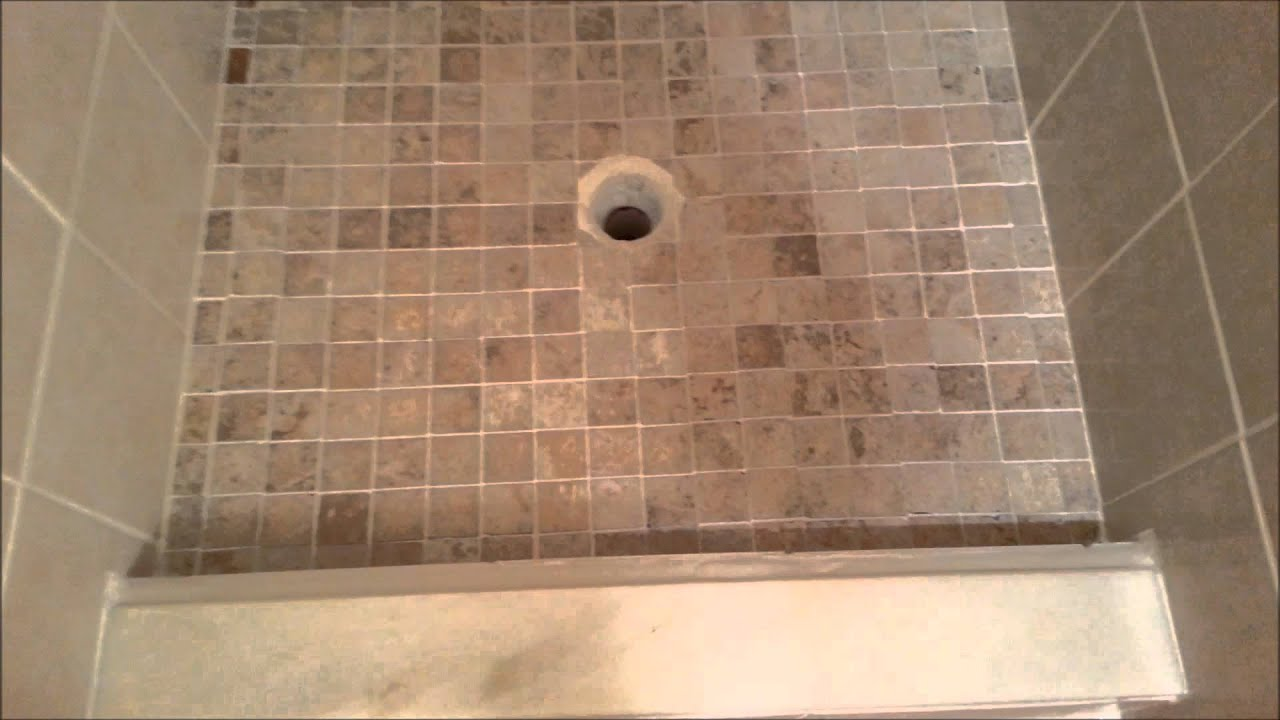 Tile Redi Shower Pan Install   YouTube Part 77