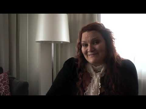 Hera Björk in her hotel room in Finland