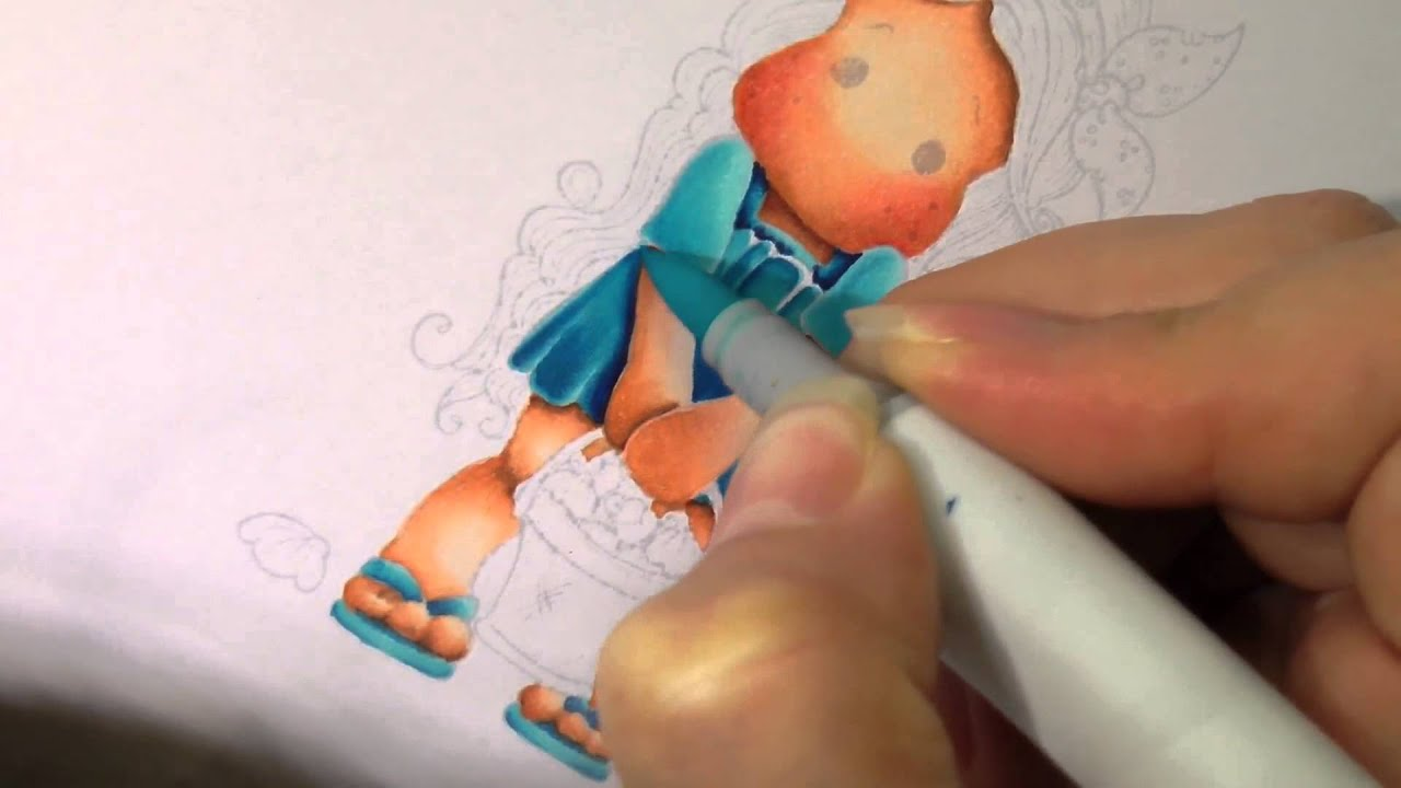 colouring tutorial stamp no lines technique using copic markers youtube