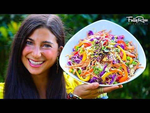 FullyRaw Spicy Sesame Thai Salad! (Raw Vegan Pad Thai)