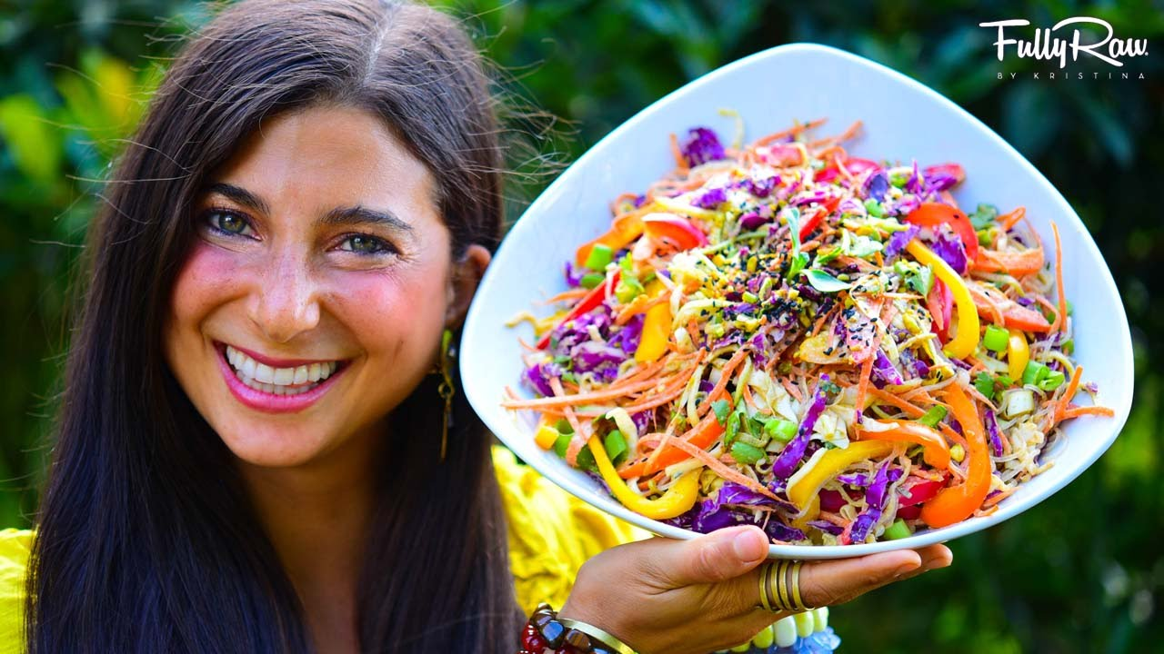 FullyRaw Spicy Sesame Thai Salad! (Raw Vegan Pad Thai)YouTube