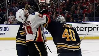 Lehner drops Tkachuk with glove shot after whistle