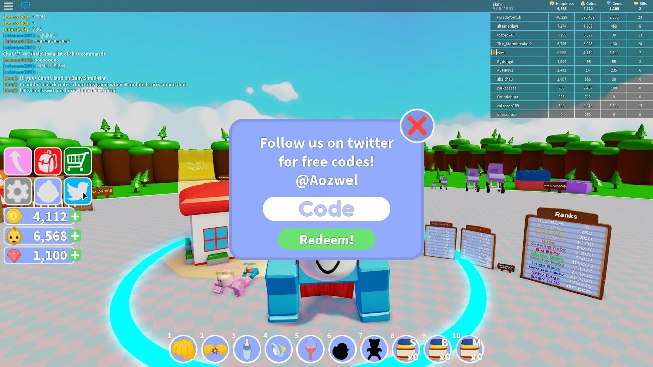 Roblox Codes Candyland Baby Simulator Youtube