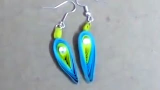 Paper Earrings  Quilling paper Earrings making easy way -  handicrafts Making at home
