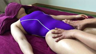 crotch Massage with Purple swimsuit [Inguinal lymph nodes]