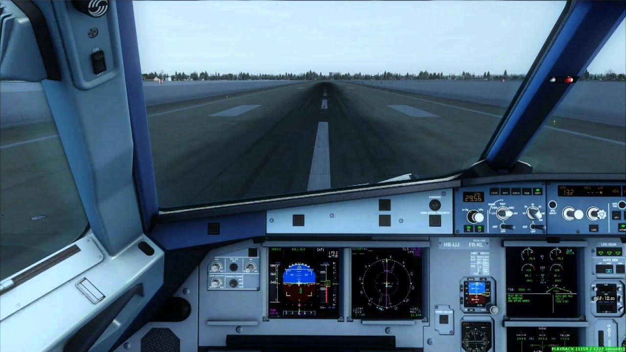 FSX [HD] - Aerosoft A320 Cockpit Landing