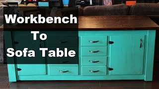 Turning An Old Workbench Into A Nice Sofa Table