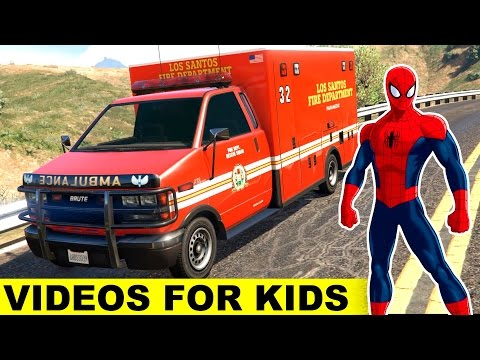 AMBULANCE CARS Cartoon with Policeman Spiderman Cartoon for Kids and Nursery Rhymes Song