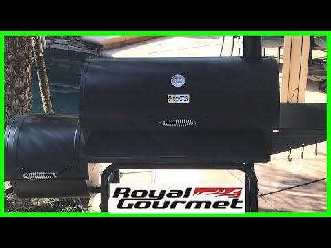 Royal Gourmet 30 Inch Charcoal Grill And Offset Smoker Unboxing, Assembly And First Cook.
