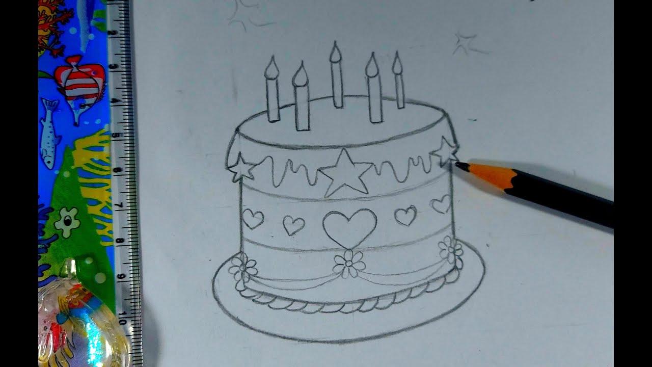 BÁNH SINH NHẬT/BÁNH KEM/VẼ CHÌ TỪNG BƯỚC ĐƠN GIÃN/HOW TO DRAW A CUTE BIRTHDAY CAKE/1001 Câu Chuyện