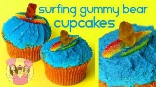 SURFING GUMMY BEAR CUPCAKES! Summer beach theme party - Charli & Ash