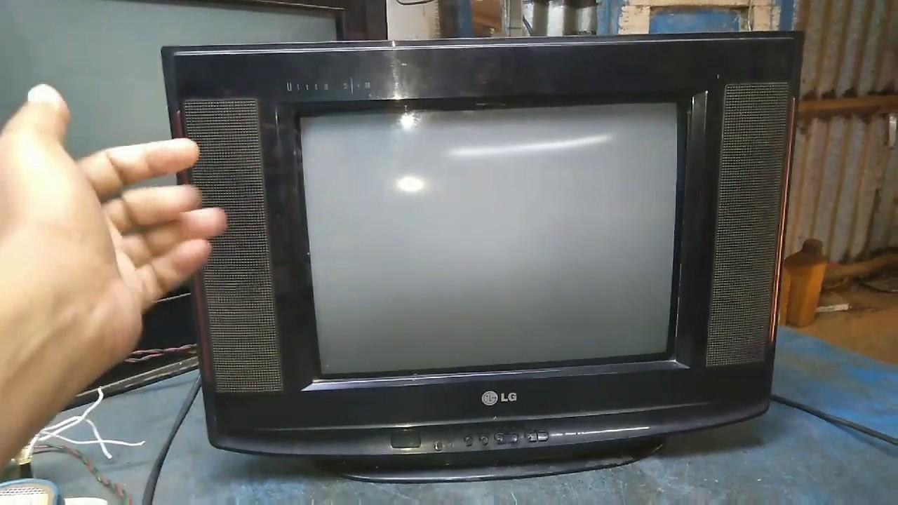 LG ultra slim 14 inch CRT TV, sound ok no picture, ik. RGB voltage missing, problem repair,