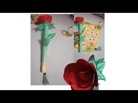 Diy how to make a rose greeting card for Teacher's Day