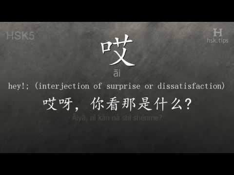 Chinese HSK 5 Vocabulary 哎 (āi), Ex.1, Www.hsk.tips