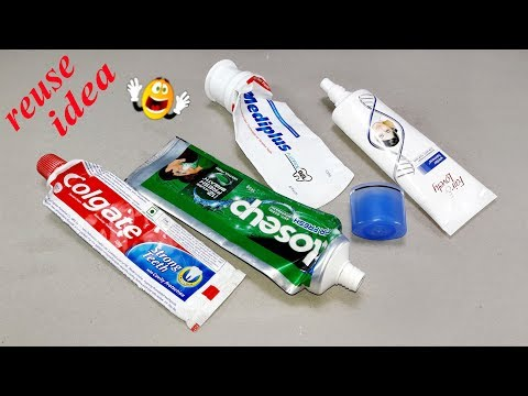 recycling toothpaste packets reuse idea   Best out of waste   DIY arts and crafts   Waste materials