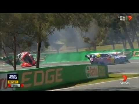 Warren Luff & Craig Lowndes Massive Practice Crash @ Bathurst 2014 [HD]