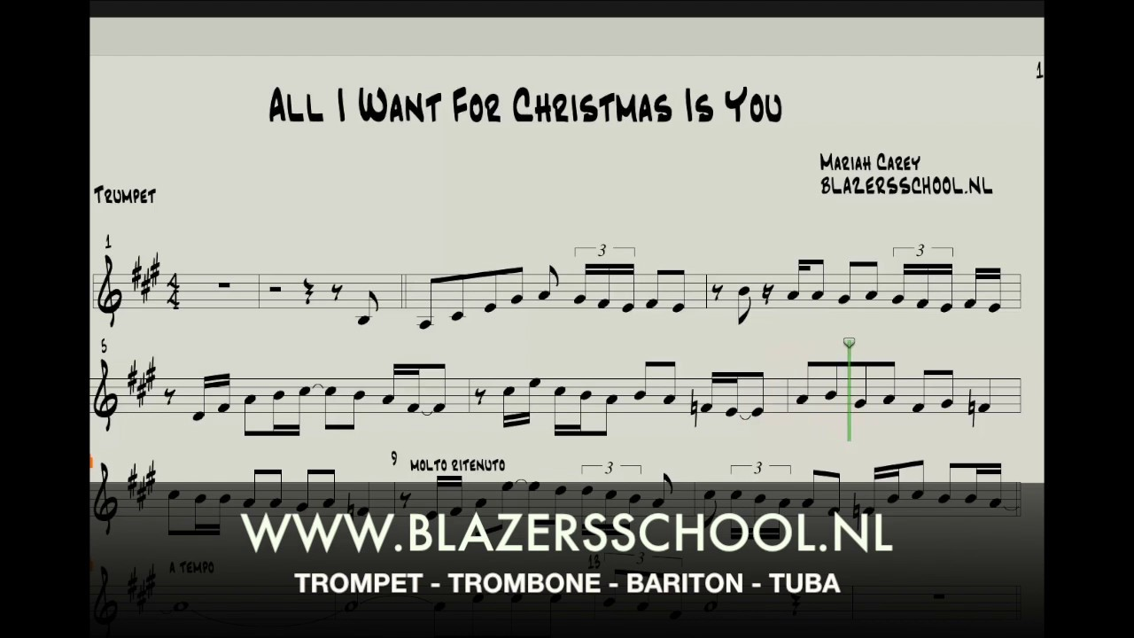 All I Want For Christmas Is You - Trumpet - YouTube