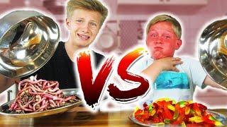 REAL FOOD vs. GUMMI FOOD CHALLENGE - EKLIGE REGENWÜRMER? TipTapTube