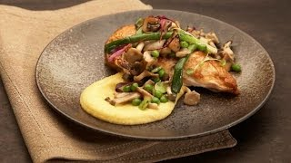 Roast Chicken Breast With Creamy Polenta, Mushrooms And Spring Vegetables