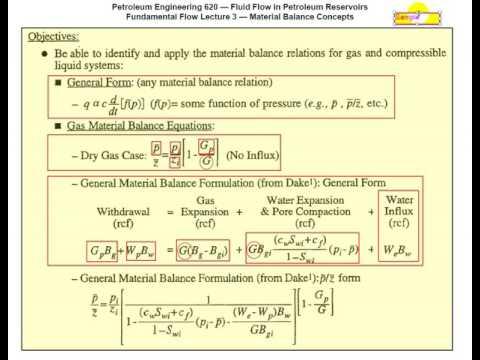 Material Balance - Fluid Flow in Petroleum Reservoirs
