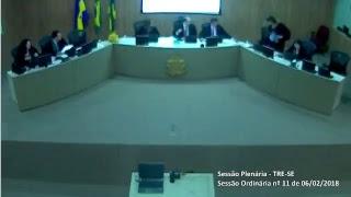 Transmissão na íntegra dos julgamentos do Tribunal Regional Eleitoral de Sergipe TRE-SE. Sessão Plenária nº11/2018.