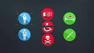 Страхование жизни от несчастного случая и болезней инфографика