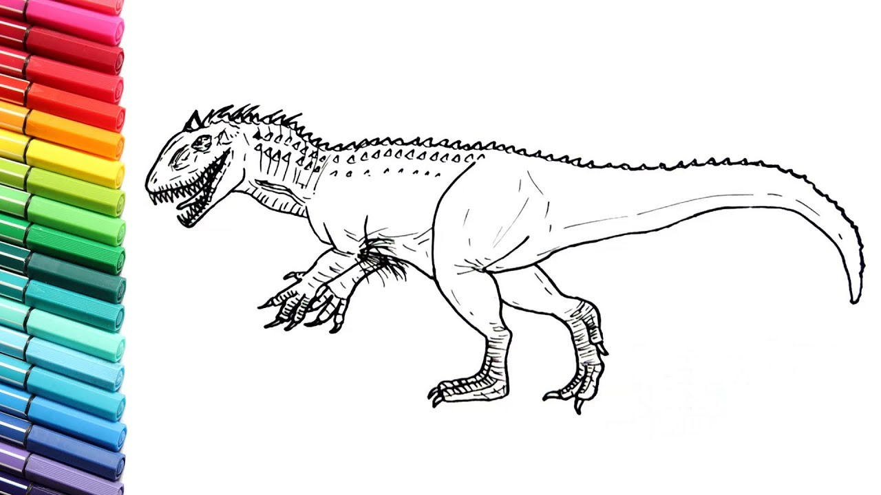 Dinosaurs Color Pages Indominus Rex And T  Rex From Jurassic World   Learn  To Draw Dinosaurs
