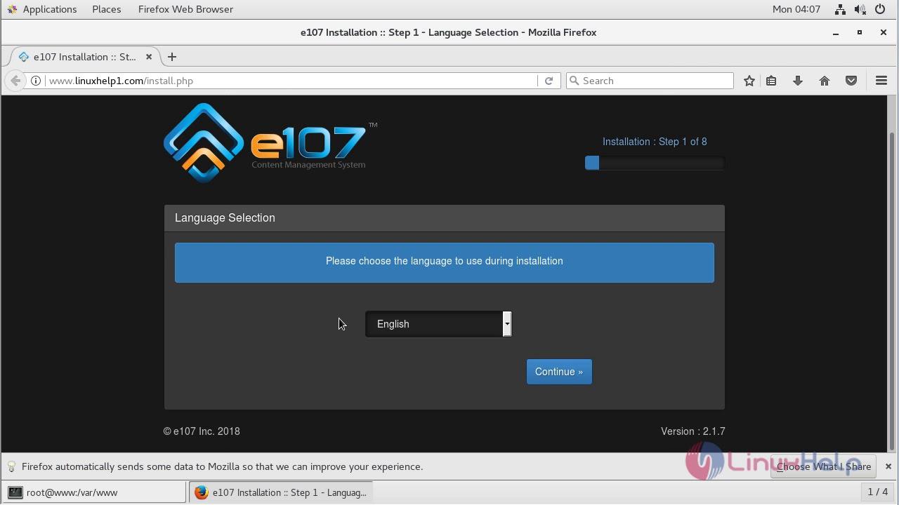 How to install E107 CMS 2 1 7 on CentOS 7   LinuxHelp Tutorials