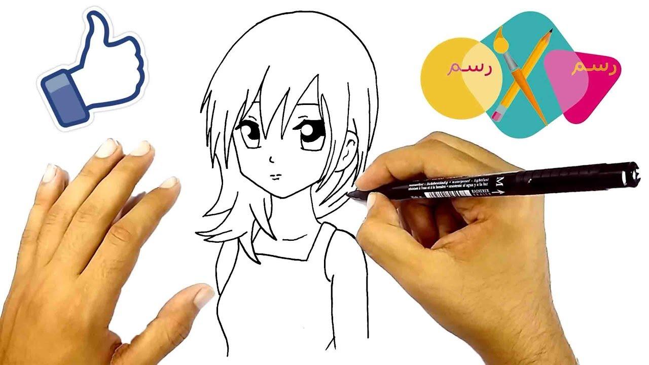 تعليم الرسم الانمي تعلم كيف ترسم فتاة انمي خطوة بخطوة للمبتدئين